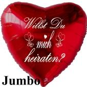 """Großer Helium-Jumbo-Herzluftballon in Rot """"Willst Du mich heiraten"""" mit Helium-Ballongas"""