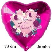 Mami ist die Beste! Großer Luftballon in Herzform aus Folie, pinkfarben, mit Helium zum Muttertag