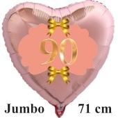 Großer Herzluftballon aus Folie, Rosegold, zum 90. Geburtstag, Rosa-Gold