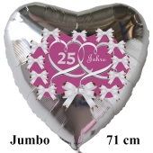 Alles Gute zur Silberhochzeit, großer Herzluftballon aus Folie in Silber, Flieder