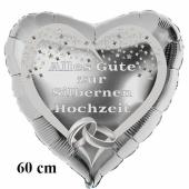 Alles Gute zur Silbernen Hochzeit, großer Herzluftballon aus Folie in Silber