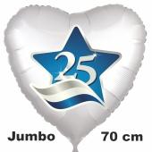 25. 70 cm großer Herzluftballon ohne Helium zur Silbernen Hochzeit