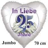 In Liebe 25 Jahre. 70 cm großer Herzluftballon mit Helium zur Silbernen Hochzeit