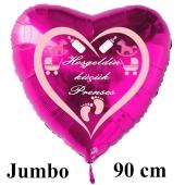 """Großer Herzluftballon in Pink, 90 cm """"Hoşgeldin küçük Prenses"""""""
