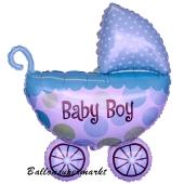 Großer Kinderwagen Luftballon aus Folie mit Helium zu Geburt Taufe Babyparty Boy Junge