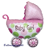 Großer Kinderwagen Luftballon aus Folie mit Helium zu Geburt Taufe Babyparty Girl Mädchen