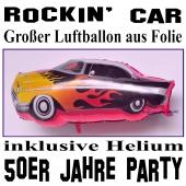 Großer Luftballon aus Folie mit Ballongas, 50er Jahre Party, Rockin' Car