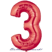 Grosser-Luftballon-aus-Folie-Rot-100-cm-Zahl-3-Drei, Zahlendekoration
