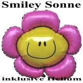 Großer Smiley Luftballon, Smiley Sonne, inklusive Ballongas-Helium