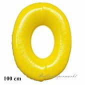 Zahl 0, Gelb, Luftballon aus Folie, 100 cm