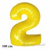Zahl 2, Gelb, Luftballon aus Folie, 100 cm mit Helium