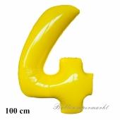 Zahl 4 großer gelber Luftballon