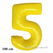 Großer gelber Luftballon aus Folie, Zahl 5, mit Helium