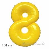 Großer gelber Luftballon, Zahl 8, mit Helium