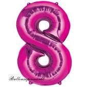 Zahl 8, Pink, Luftballon aus Folie, 100 cm
