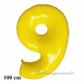 Großer gelber Luftballon, Zahl 9, mit Helium