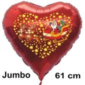 Weihnachtsballon Weihnachtsmann auf Schlitten mit Rentieren, rotes grosses Herz inklusive Ballongas
