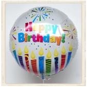 Großer runder Luftballon, Happy Birthday, zum Geburtstag, Ballon mit Helium, Sparkling Candles
