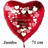 """Großer Herzluftballon in Rot """" Du bist mein größter Schatz!"""" mit weißen Herzen"""