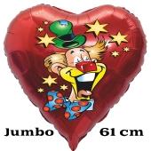 Karnevalsclown, Luftballon aus Folie, Folienballon mit Ballongas, Herzballon rot zu Karneval