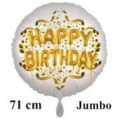 Großer Satin Weiß Happy Birthday Luftballon aus Folie zum Geburtstag, 71 cm, Satin Luxe, heliumgefüllt