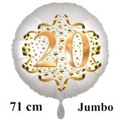 Großer Zahl 20 Luftballon aus Folie zum 20. Geburtstag, 71 cm, Weiß/Gold, heliumgefüllt