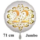 Großer Zahl 22 Luftballon aus Folie zum 22. Geburtstag, 71 cm, Weiß/Gold, heliumgefüllt
