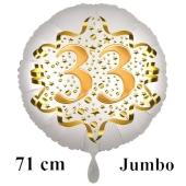 Großer Zahl 33 Luftballon aus Folie zum 33. Geburtstag, 71 cm, Weiß/Gold, heliumgefüllt