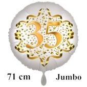Großer Zahl 35 Luftballon aus Folie zum 35. Geburtstag, 71 cm, Weiß/Gold, heliumgefüllt