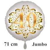 Großer Zahl 40 Luftballon aus Folie zum 40. Geburtstag, 71 cm, Weiß/Gold, heliumgefüllt