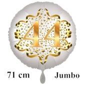 Großer Zahl 44 Luftballon aus Folie zum 44. Geburtstag, 71 cm, Weiß/Gold, heliumgefüllt