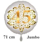 Großer Zahl 45 Luftballon aus Folie zum 45. Geburtstag, 71 cm, Weiß/Gold, heliumgefüllt