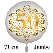 Großer Zahl 50 Luftballon aus Folie zum 50. Geburtstag, 71 cm, Weiß/Gold, heliumgefüllt