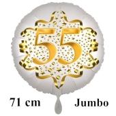 Großer Zahl 55 Luftballon aus Folie zum 55. Geburtstag, 71 cm, Weiß/Gold, heliumgefüllt