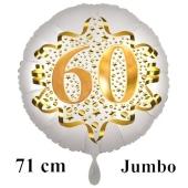 Großer Zahl 60 Luftballon aus Folie zum 60. Geburtstag, 71 cm, Weiß/Gold, heliumgefüllt