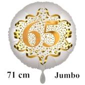 Großer Zahl 65 Luftballon aus Folie zum 65. Geburtstag, 71 cm, Weiß/Gold, heliumgefüllt