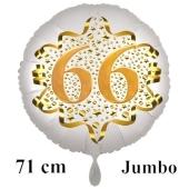 Großer Zahl 66 Luftballon aus Folie zum 66. Geburtstag, 71 cm, Weiß/Gold, heliumgefüllt