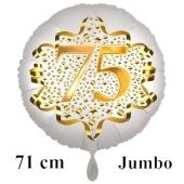 Großer Zahl 75 Luftballon aus Folie zum 75. Geburtstag, 71 cm, Weiß/Gold, heliumgefüllt