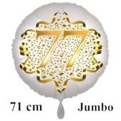 Großer Zahl 77 Luftballon aus Folie zum 77. Geburtstag, 71 cm, Weiß/Gold, heliumgefüllt