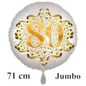 Großer Zahl 80 Luftballon aus Folie zum 80. Geburtstag, 71 cm, Weiß/Gold, heliumgefüllt