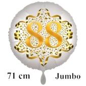 Großer Zahl 88 Luftballon aus Folie zum 88. Geburtstag, 71 cm, Weiß/Gold, heliumgefüllt