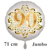 Großer Zahl 90 Luftballon aus Folie zum 90. Geburtstag, 71 cm, Weiß/Gold, heliumgefüllt