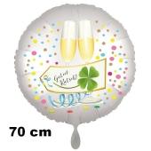 Großer Silvester Luftballon: Guten Rutsch! Satin de Luxe, weiß, 70 cm