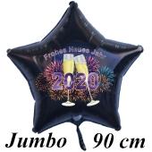 Riesiger Silvester Luftballon, Sternballon aus Folie, 2020 - Feuerwerk - Frohes Neues Jahr