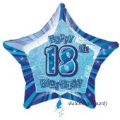 Luftballon aus Folie zum 18. Geburtstag, Happy 18TH Birthday, Prismatik Sternballon 50 cm