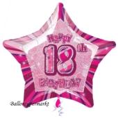 Rosa Luftballon aus Folie zum 18. Geburtstag, Happy 18TH Birthday, Prismatik Sternballon 50 cm
