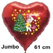 Weihnachtsballon Einhorn mit Weihnachtsbaum, rotes grosses Herz inklusive Ballongas