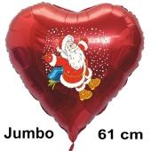 Weihnachtsballon Weihnachtsmann in Schneeflocken, rotes grosses Herz inklusive Ballongas