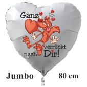 """Großer Herzluftballon in Weiß """"Ganz verrückt nach Dir! Ich liebe Dich!"""