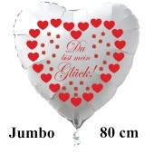 """Großer Herzluftballon in Weiß """"Du bist mein Glück!"""" zum Valentinstag mit roten Herzen und Glücksklee"""